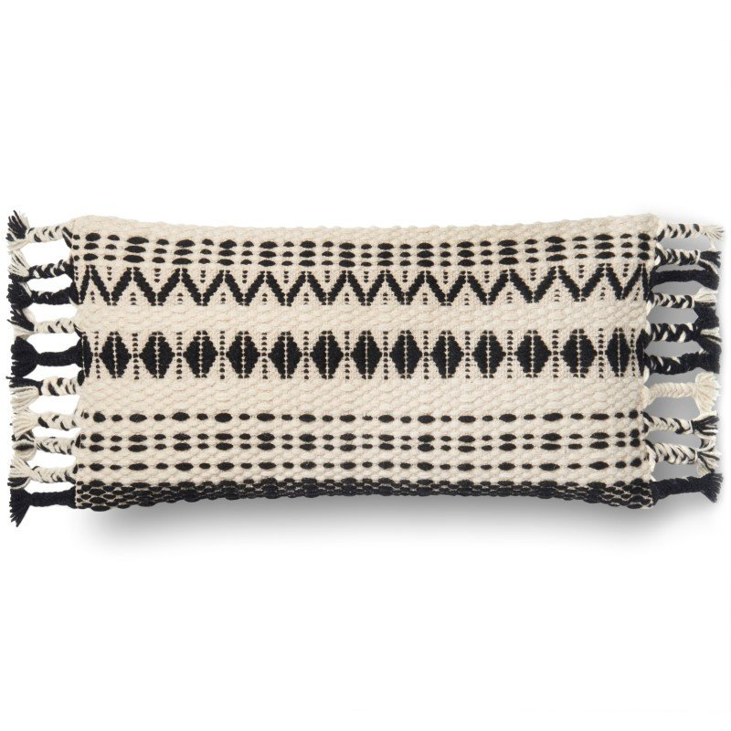 """Loloi P0544 Pillow 1' x 2' 3"""" Cover w/ Down in Black and White (DSETP0544BLWHPI13)"""