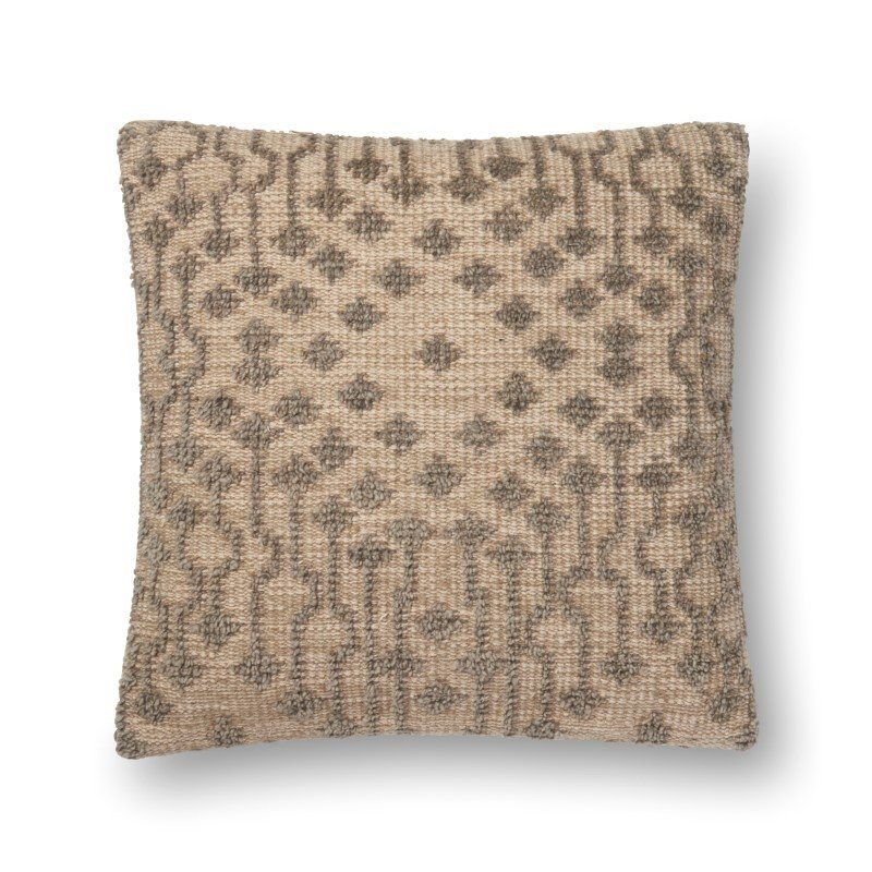"Loloi P0552 Pillow 22"" x 22"" Cover w/ Down in Taupe (DSETP0552TA00PIL3)"