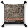 """Loloi P0564 Pillow 22"""" x 22"""" Cover w/ Poly in Black (PSETP0564BL00PIL3)"""