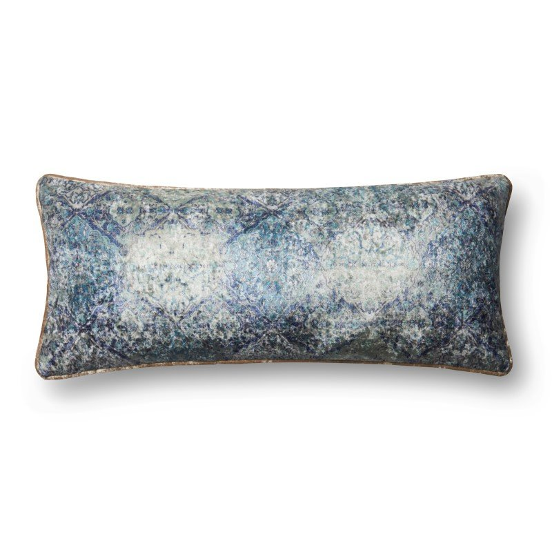 """Loloi P0565 Pillow 13"""" x 35"""" Cover w/ Down in Blue (DSETP0565BB00PI29)"""