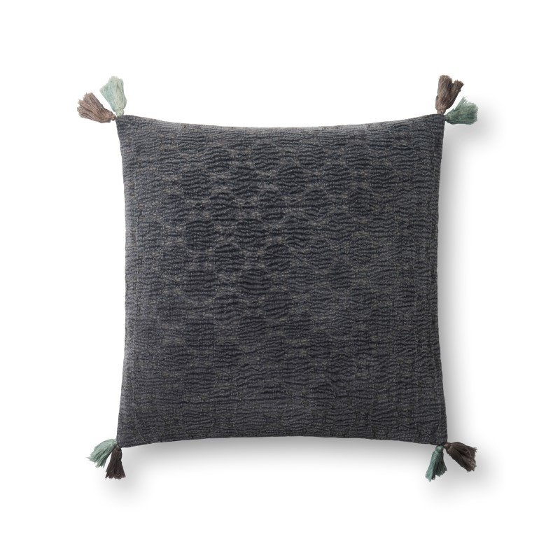 """Loloi P0568 Pillow 18"""" x 18"""" Cover w/ Poly in Charcoal (PSETP0568CC00PIL1)"""