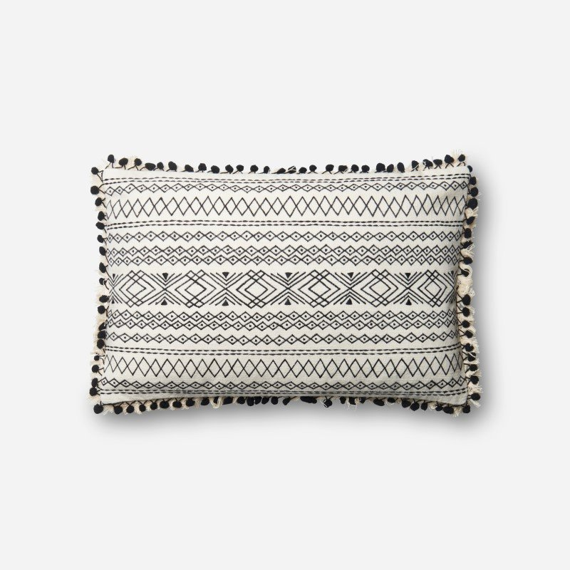 """Loloi P0572 Pillow 13"""" x 21"""" Cover w/ Poly in Black and White (PSETP0572BLWHPIL5)"""