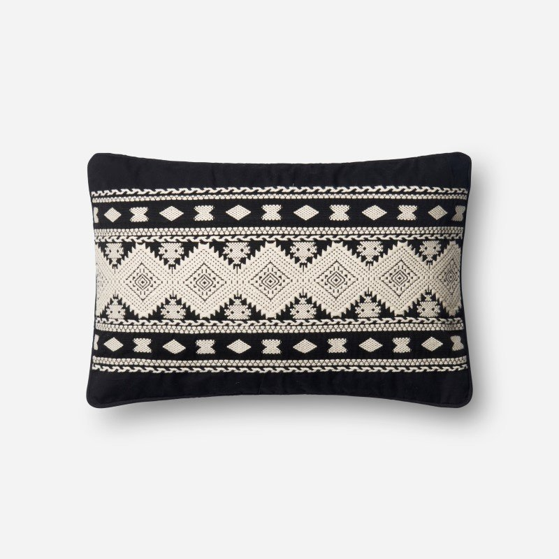 """Loloi P0574 Pillow 13"""" x 21"""" Cover w/ Poly in Black and White (PSETP0574BLWHPIL5)"""