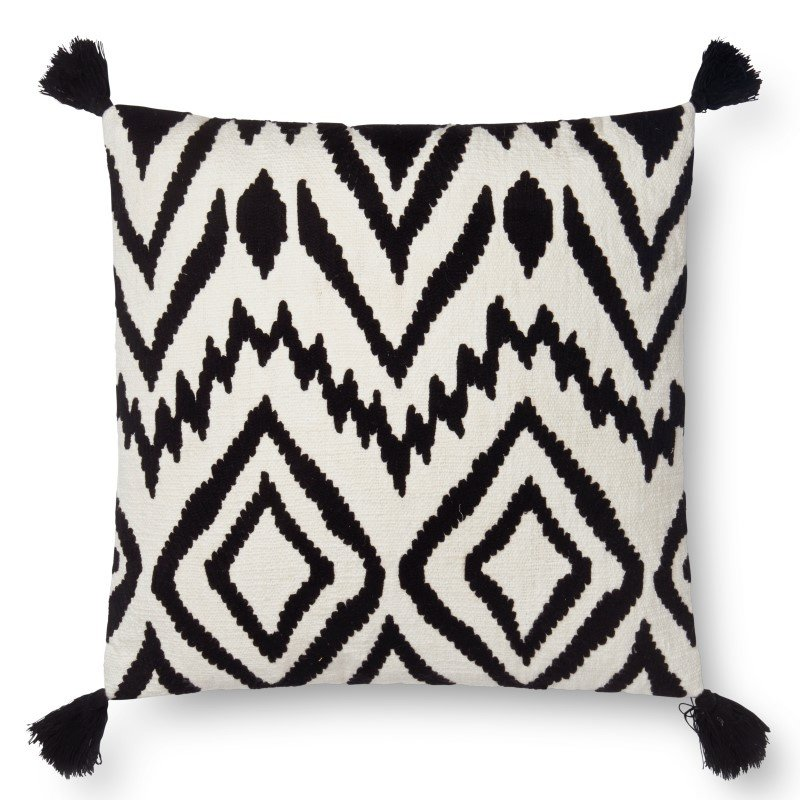 """Loloi P0576 Pillow 22"""" x 22"""" Cover w/ Down in Black and White (DSETP0576BLWHPIL3)"""