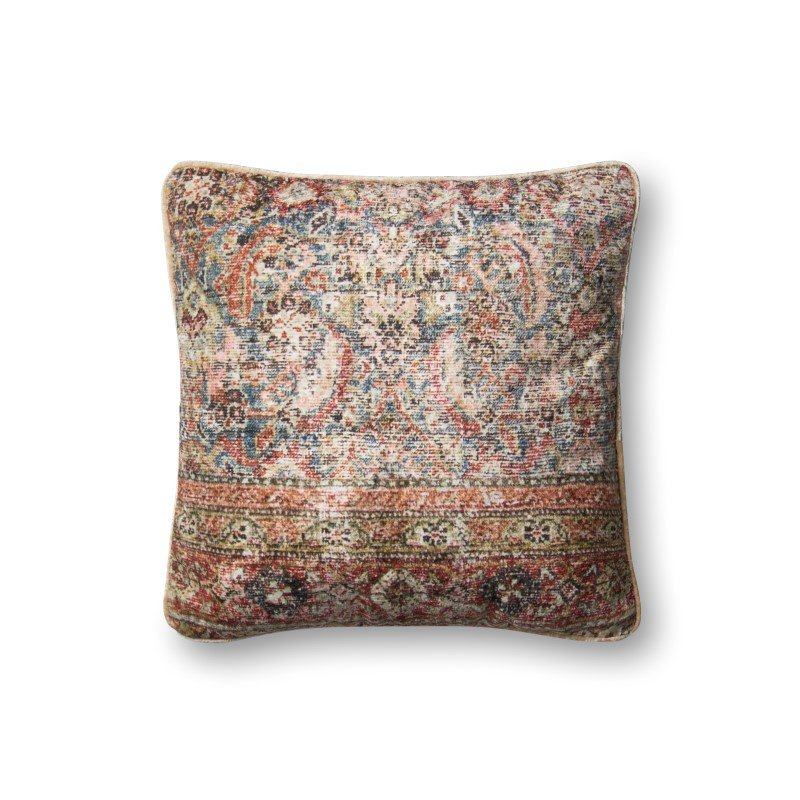 """Loloi P0579 Pillow 18"""" x 18"""" Cover w/ Poly in Multi (PSETP0579ML00PIL1)"""