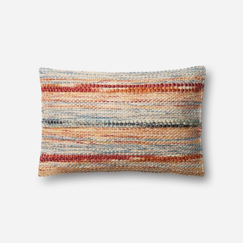 """Loloi P0589 Pillow 13"""" x 21"""" Cover w/ Poly in Rust and Multi (PSETP0589RUMLPIL5)"""
