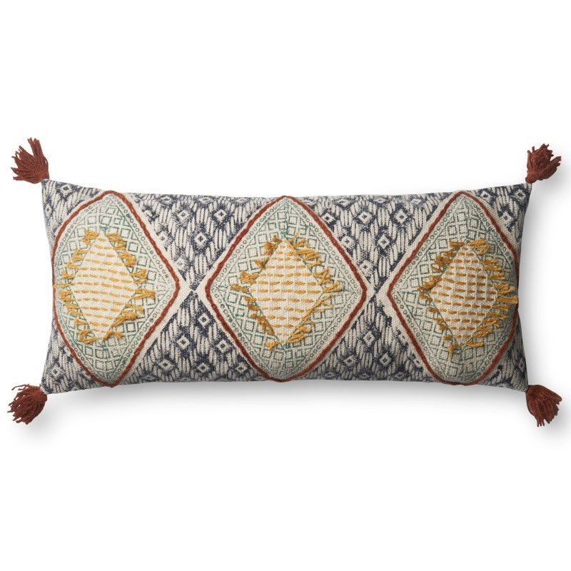 """Loloi P0590 Pillow 12"""" x 27"""" Cover w/ Poly in Multi (PSETP0590ML00PI13)"""