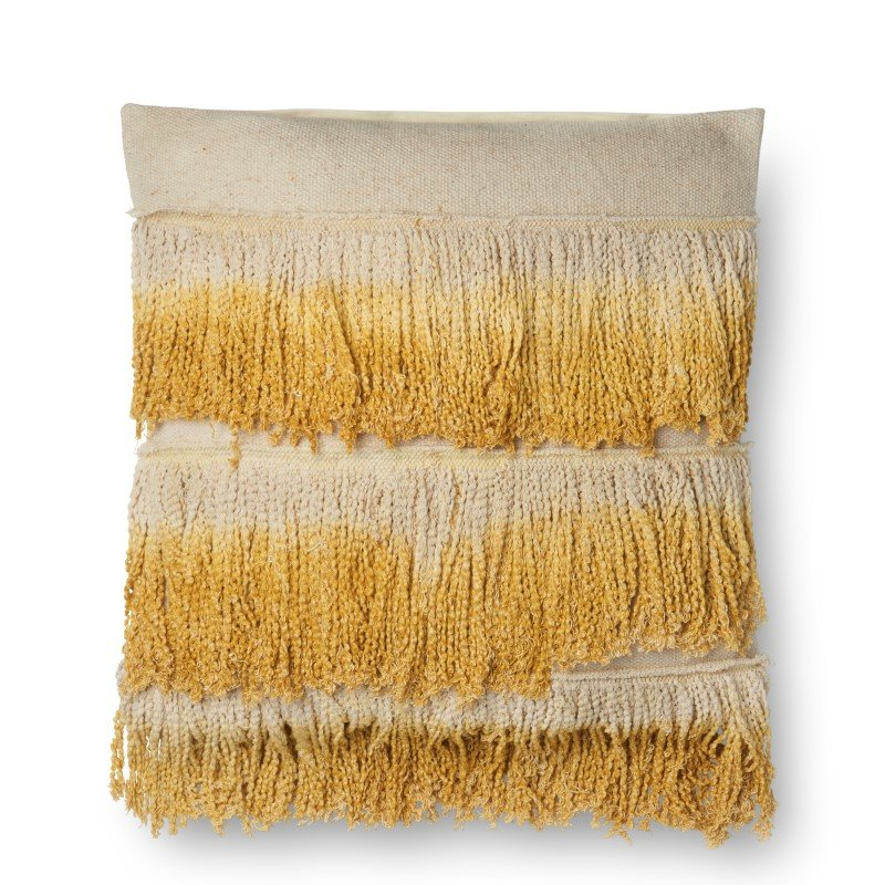 """Loloi P0593 Pillow 22"""" x 22"""" Cover w/ Down in Gold and Ivory (DSETP0593GOIVPIL3)"""