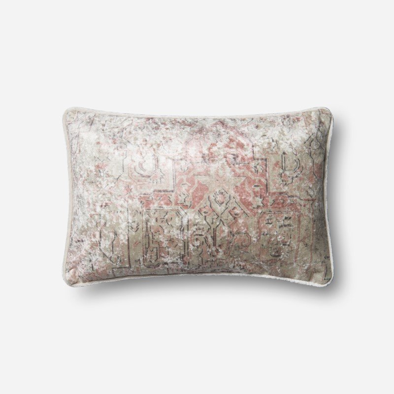 """Loloi P0596 Pillow 13"""" x 21"""" Cover w/ Down in Pink (DSETP0596PI00PIL5)"""