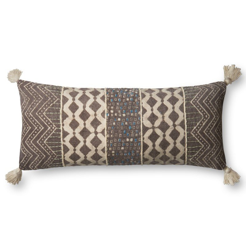"""Loloi P0607 Pillow 13"""" x 35"""" Cover w/ Poly in Grey and Multi (PSETP0607GYMLPI29)"""
