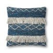 """Loloi P0618 Pillow 22"""" x 22"""" Cover w/ Poly in Blue and Ivory (PSETP0618BBIVPIL3)"""
