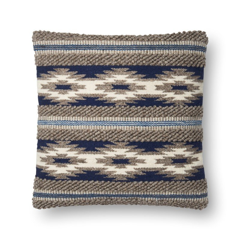 """Loloi P0620 Pillow 22"""" x 22"""" Cover w/ Poly in Navy and Multi (PSETP0620NVMLPIL3)"""