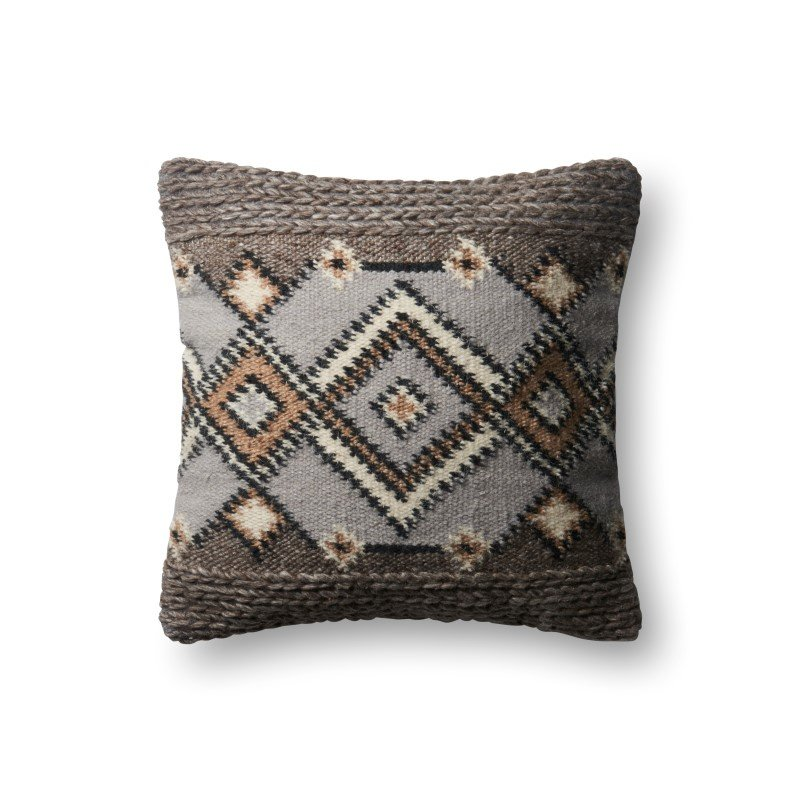 """Loloi P0630 Pillow 18"""" x 18"""" Cover w/ Poly in Grey and Natural (PSETP0630GYNAPIL1)"""