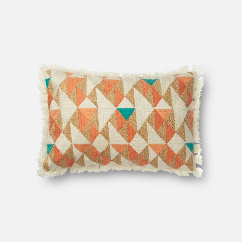 "Loloi P0631 Pillow 13"" x 21"" Cover w/ Down in Orange and Multi (DSETP0631ORMLPIL5)"