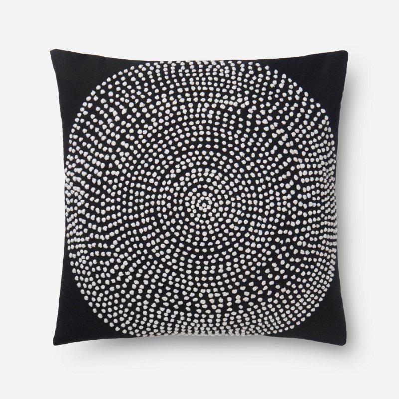 "Loloi P0640 Pillow 22"" x 22"" Cover w/ Down in Black (DSETP0640BL00PIL3)"