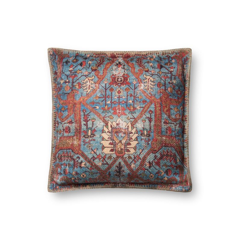 """Loloi P0651 Pillow 18"""" x 18"""" Cover w/ Down in Blue and Multi (DSETP0651BBMLPIL1)"""