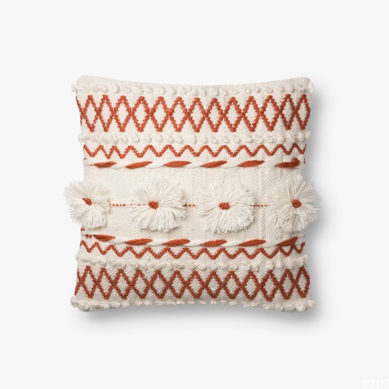 """Loloi P0729 Indoor/Outdoor Pillow 18"""" x 18"""" Cover with Down in Natural and Rust (DSETP0729NARUPIL1)"""