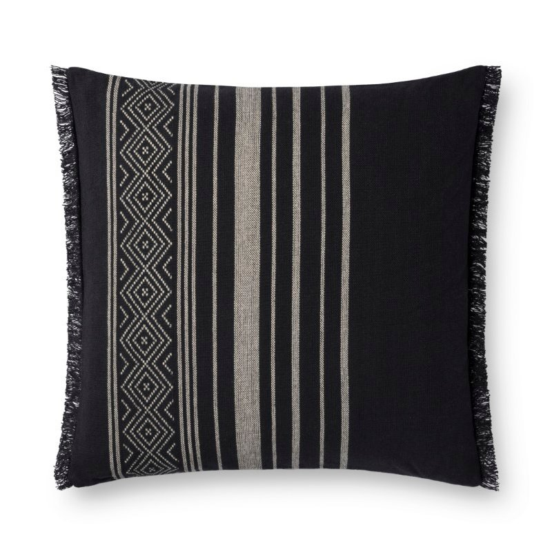 """Loloi P0732 Pillow 22"""" x 22"""" Cover with Poly in Black (PSETP0732BL00PIL3)"""