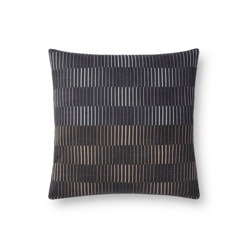 """Loloi P0733 Pillow 18"""" x 18"""" Cover Only in Charcoal (P012P0733CC00PIL1)"""