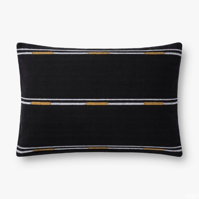 """Loloi P0735 Pillow 13"""" x 21"""" Cover with Down in Black (DSETP0735BL00PIL5)"""