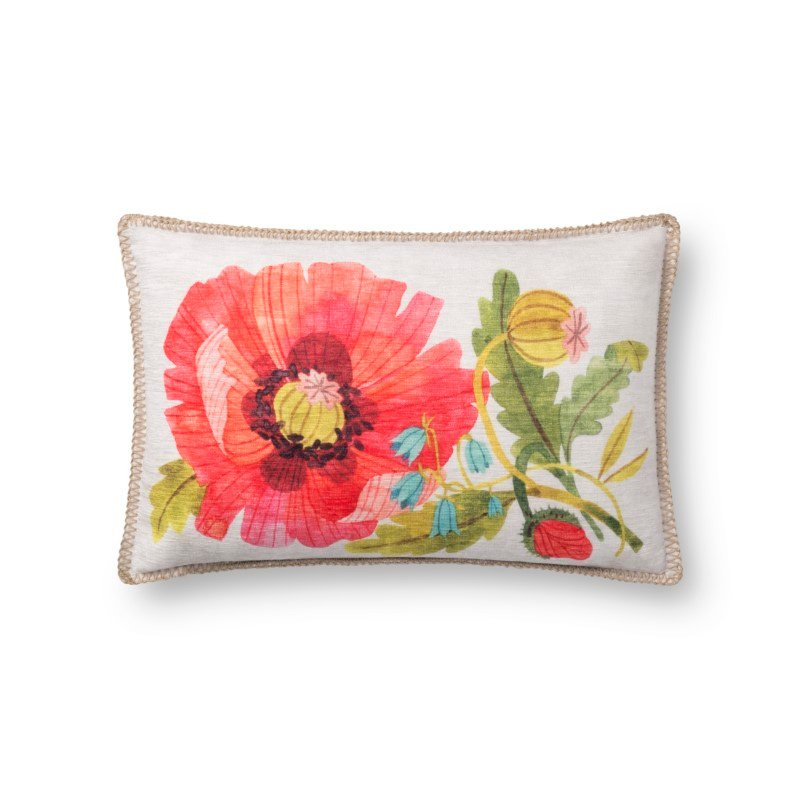 """Loloi P0738 Indoor/Outdoor Pillow 13"""" x 21"""" Cover Only in Multi (P198P0738ML00PIL5)"""
