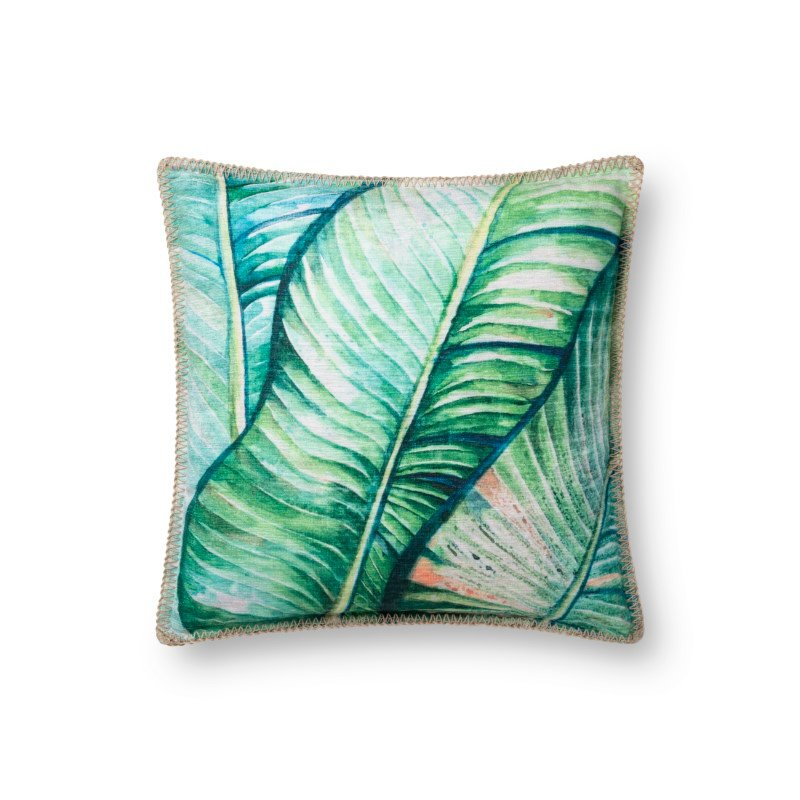 """Loloi P0742 Indoor/Outdoor Pillow 18"""" x 18"""" Cover with Down in Green (DSETP0742GR00PIL1)"""