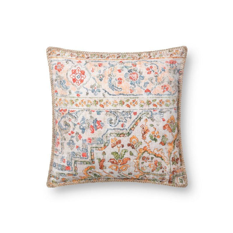 """Loloi P0743 Indoor/Outdoor Pillow 18"""" x 18"""" Cover with Down in Multi (DSETP0743ML00PIL1)"""
