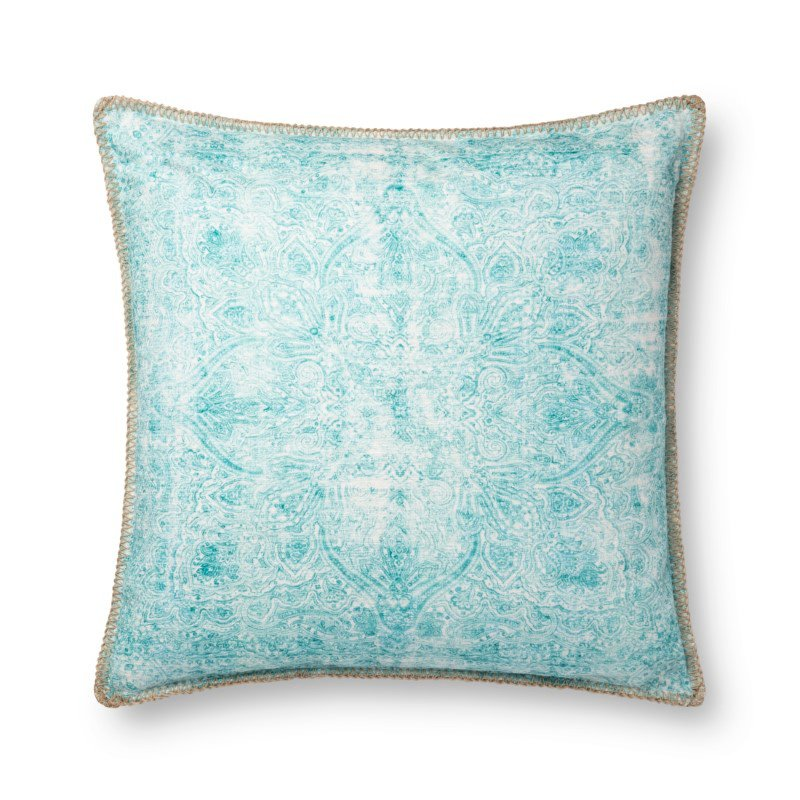 """Loloi P0746 Indoor/Outdoor Pillow 22"""" x 22"""" Cover with Poly in Teal (PSETP0746TE00PIL3)"""