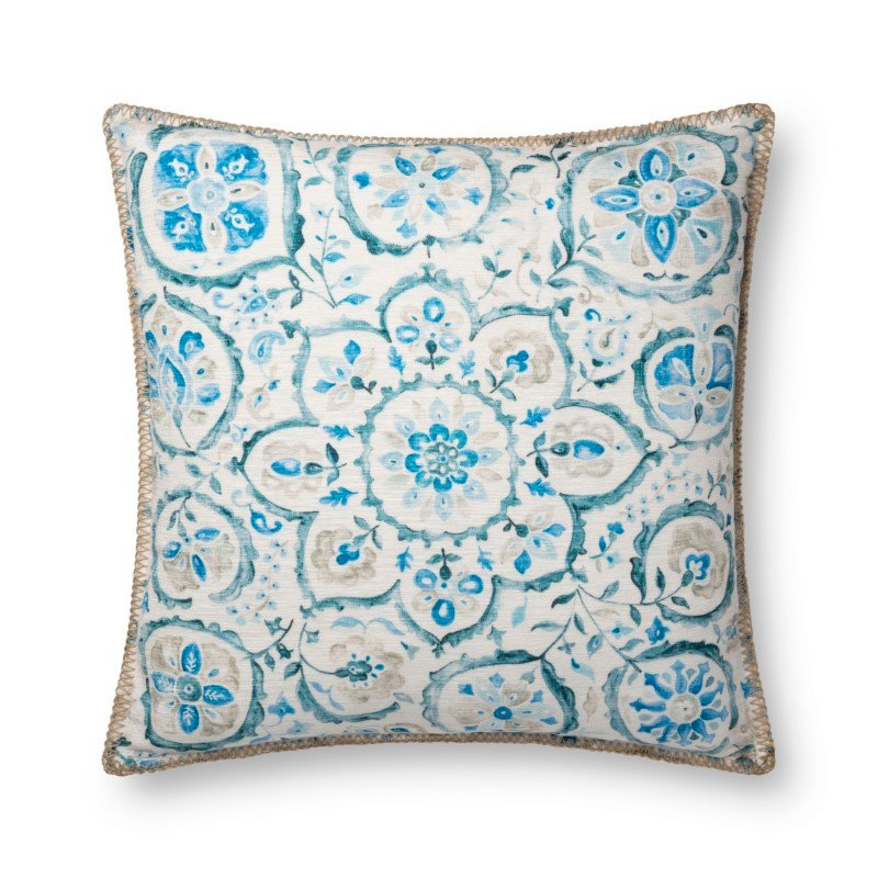 """Loloi P0748 Indoor/Outdoor Pillow 22"""" x 22"""" Cover with Down in Blue (DSETP0748BB00PIL3)"""