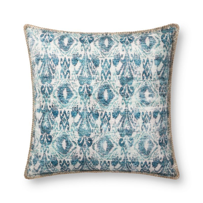 """Loloi P0748 Indoor/Outdoor Pillow 22"""" x 22"""" Cover with Poly in Blue (PSETP0748BB00PIL3)"""