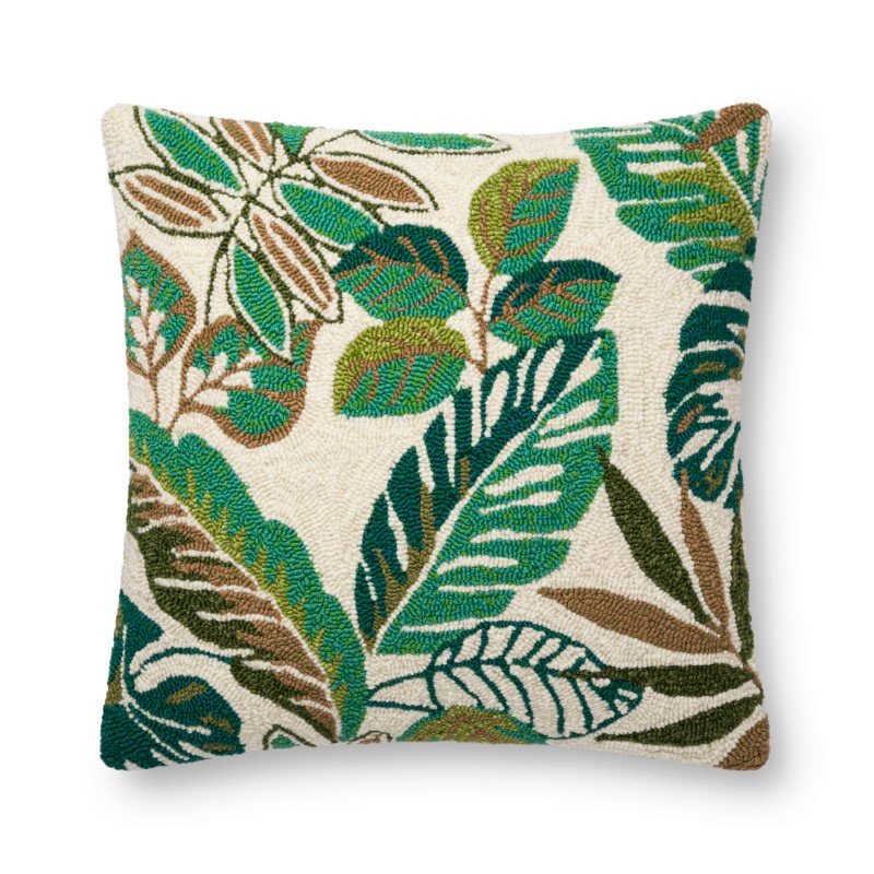 """Loloi P0752 Indoor/Outdoor Pillow 22"""" x 22"""" Cover with Down in Green and Multi (DSETP0752GRMLPIL3)"""