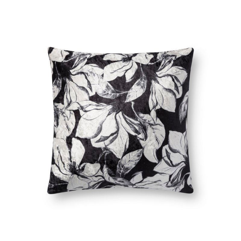 """Loloi P0754 Pillow 18"""" x 18"""" Cover with Down in Black and White (DSETP0754BLWHPIL1)"""
