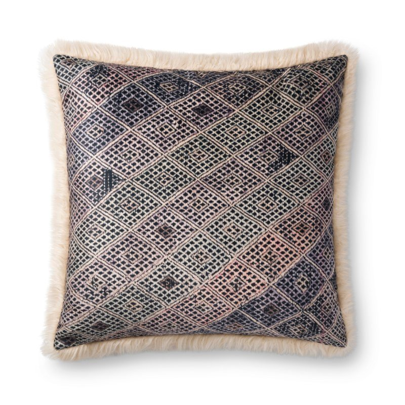 """Loloi P0785 Pillow 22"""" x 22"""" Cover Only in Multi and Ivory (P203P0785MLIVPIL3)"""