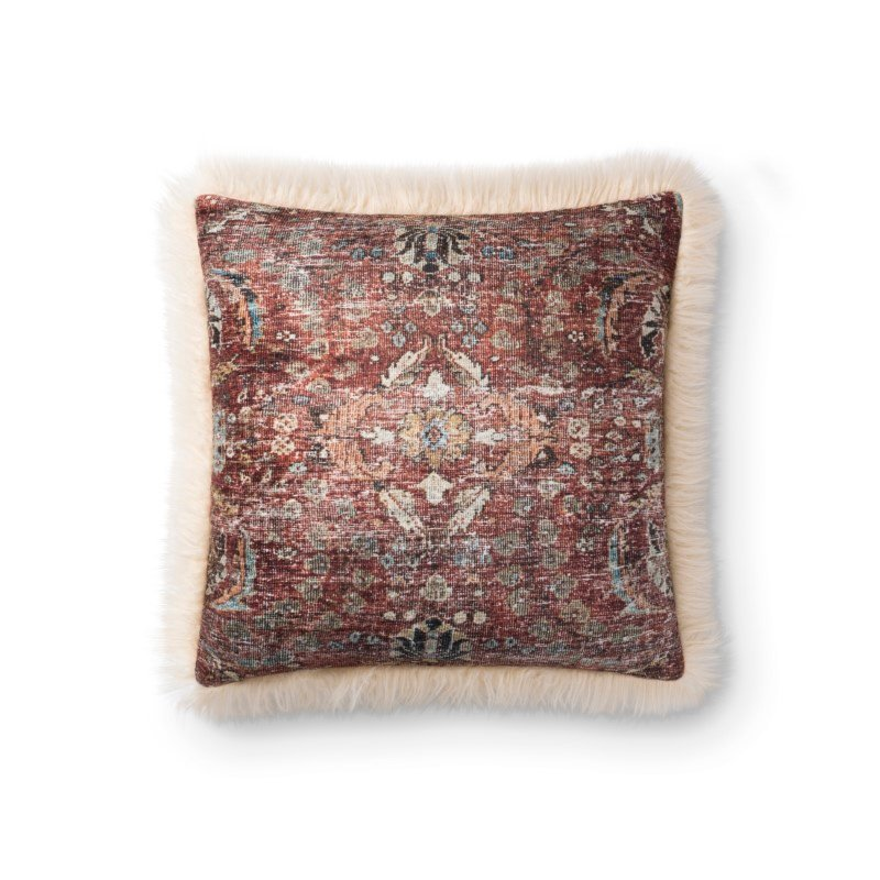 """Loloi P0787 Pillow 18"""" x 18"""" Cover with Down in Multi and Ivory (DSETP0787MLIVPIL1)"""