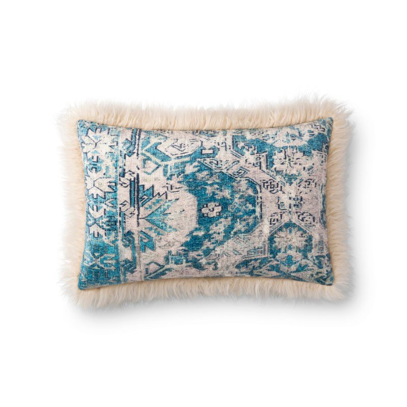 """Loloi P0788 Pillow 13"""" x 21"""" Cover with Poly in Multi and Ivory (PSETP0788MLIVPIL5)"""