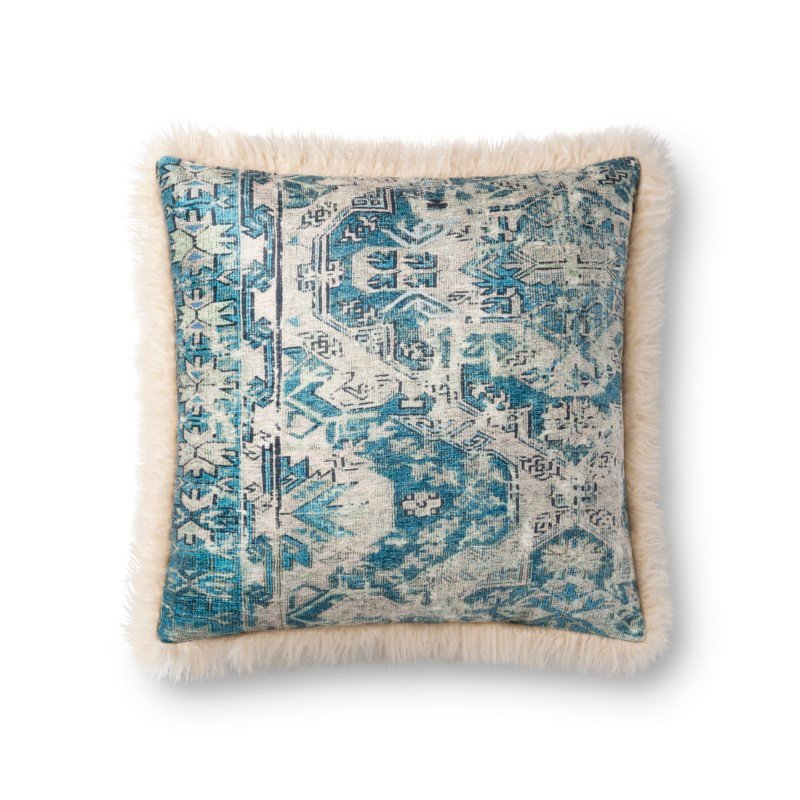 """Loloi P0791 Pillow 18"""" x 18"""" Cover with Down in Multi and Ivory (DSETP0791MLIVPIL1)"""