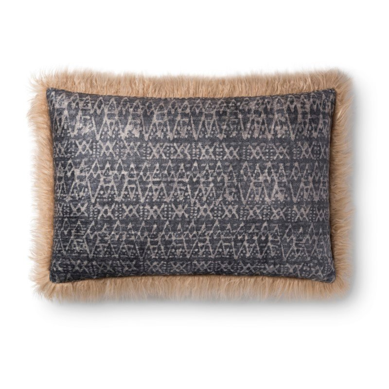 """Loloi P0793 Pillow 16"""" x 26"""" Cover with Down in Multi and Beige (DSETP0793MLBEPI15)"""