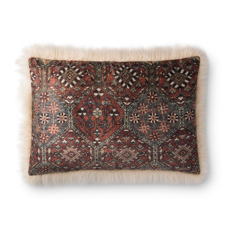"""Loloi P0794 Pillow 16"""" x 26"""" Cover with Down in Multi and Ivory (DSETP0794MLIVPI15)"""