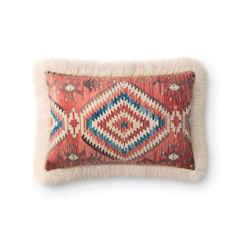 """Loloi P0795 Pillow 13"""" x 21"""" Cover with Down in Multi and Ivory (DSETP0795MLIVPIL5)"""