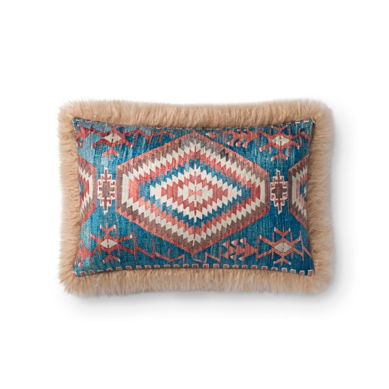 """Loloi P0798 Pillow 13"""" x 21"""" Cover with Poly in Multi and Beige (PSETP0798MLBEPIL5)"""
