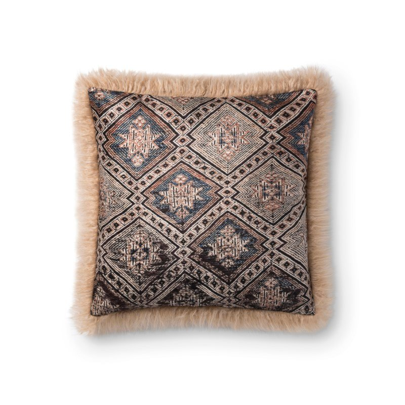 """Loloi P0800 Pillow 18"""" x 18"""" Cover Only in Multi and Beige (P203P0800MLBEPIL1)"""