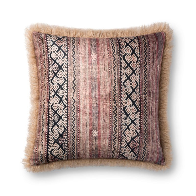 """Loloi P0801 Pillow 22"""" x 22"""" Cover with Poly in Multi and Beige (PSETP0801MLBEPIL3)"""