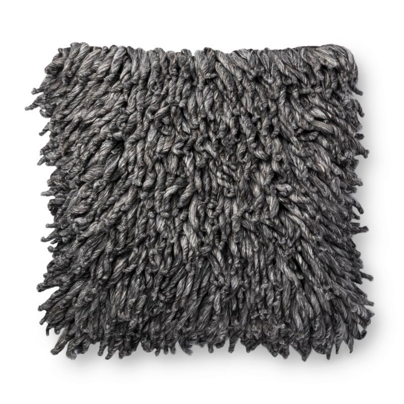"""Loloi P0802 Pillow 22"""" x 22"""" Cover with Down in Charcoal (DSETP0802CC00PIL3)"""