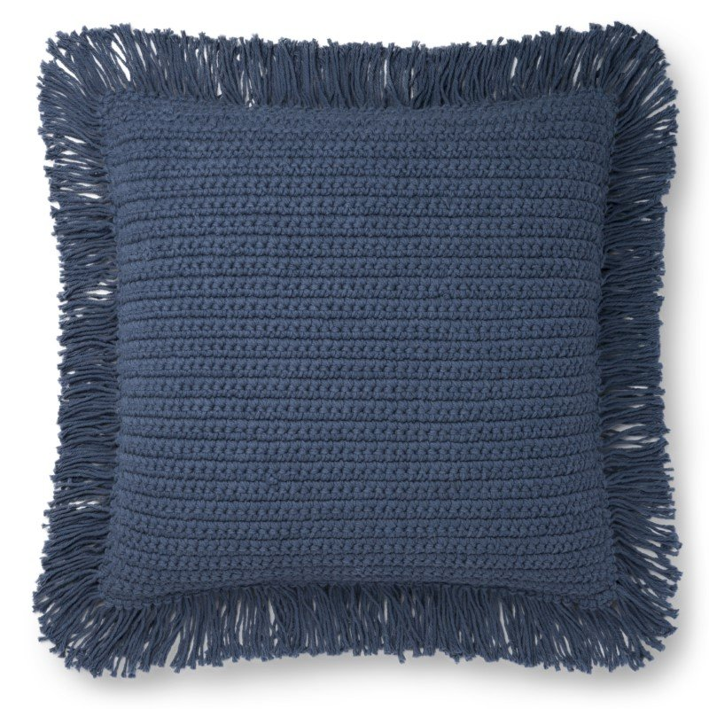 """Loloi P0806 Pillow 22"""" x 22"""" Cover with Down in Blue (DSETP0806BB00PIL3)"""