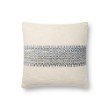 """Loloi P0809 Pillow 18"""" x 18"""" Cover with Down in Blue and Multi (DSETP0809BBMLPIL1)"""