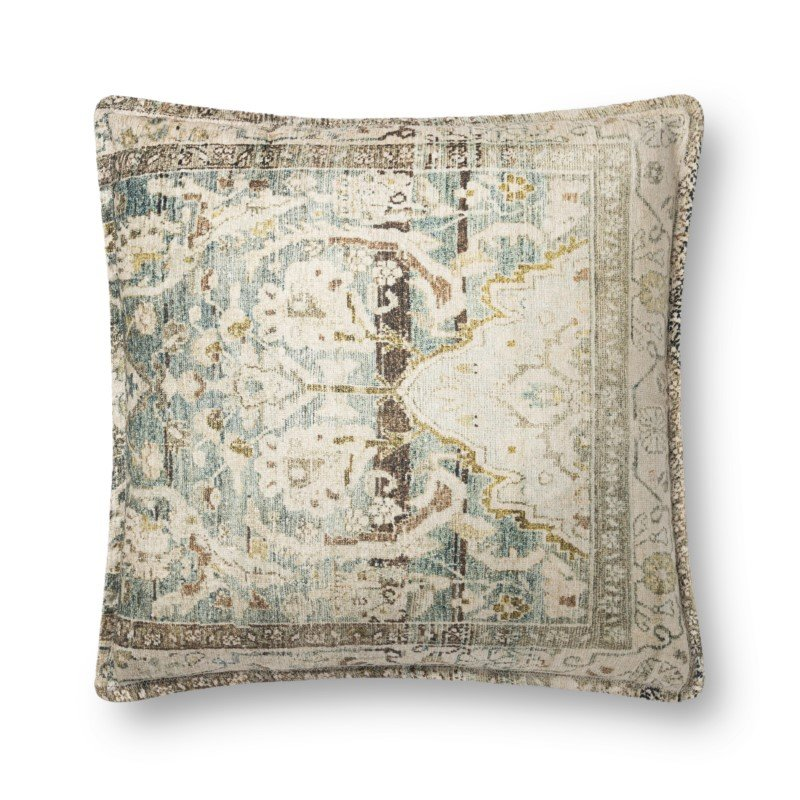 """Loloi P0819 Pillow 22"""" x 22"""" Cover with Down in Green and Multi (DSETP0819GRMLPIL3)"""