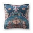 """Loloi P0824 Pillow 22"""" x 22"""" Cover with Down in Blue and Multi (DSETP0824BBMLPIL3)"""