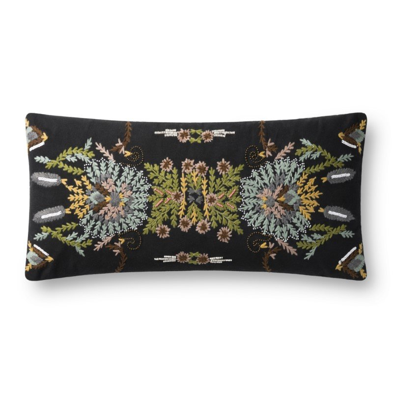 """Loloi P0826 Pillow 12"""" x 27"""" Cover with Down in Black and Multi (DSETP0826BLMLPI13)"""
