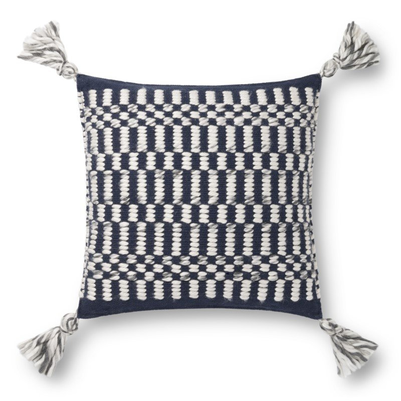 """Loloi P0827 Pillow 18"""" x 18"""" Cover with Down in Navy and Ivory (DSETP0827NVIVPIL1)"""