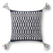 """Loloi P0827 Pillow 18"""" x 18"""" Cover with Poly in Navy and Ivory (PSETP0827NVIVPIL1)"""